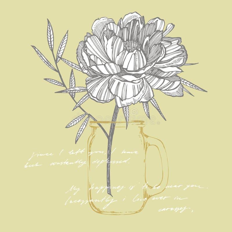 牡丹花和叶子画 手拉的被刻记的花卉集合 植物的例证 伟大为纹身花刺,邀请 皇族释放例证
