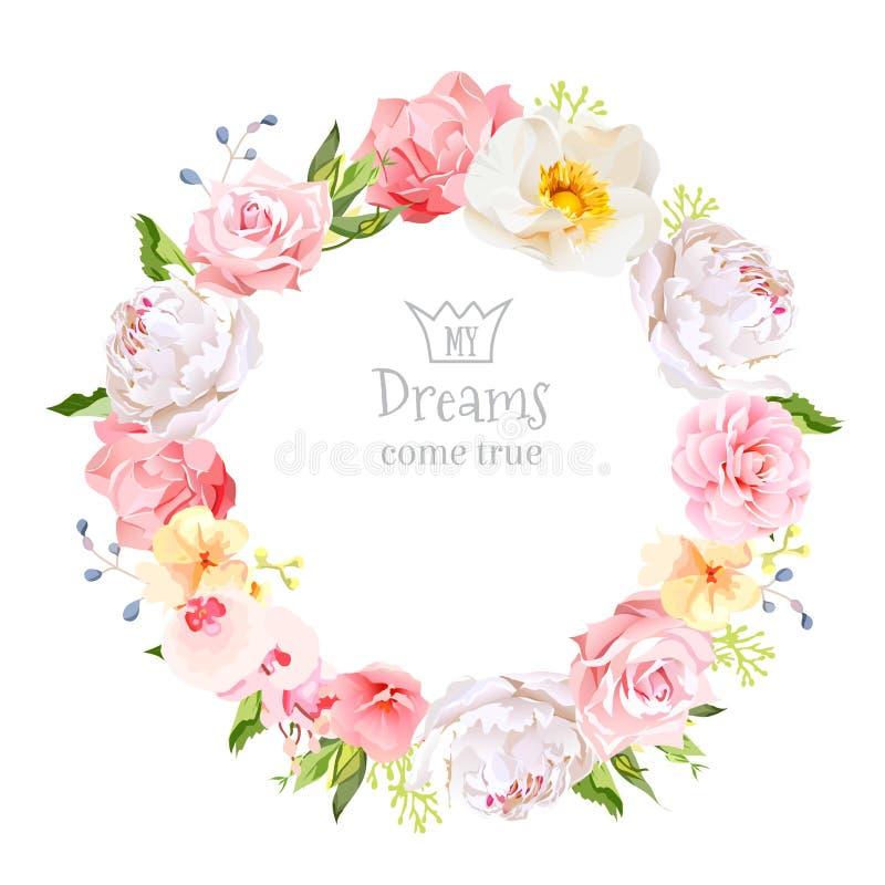 牡丹,狂放上升了,兰花、康乃馨、山茶花、蓝色莓果和绿色叶子传染媒介设计圆的框架 向量例证