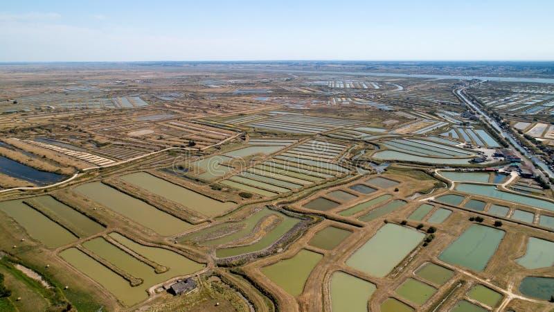 牡蛎鸟瞰图在Marennes,海的夏朗德省种田 免版税库存照片