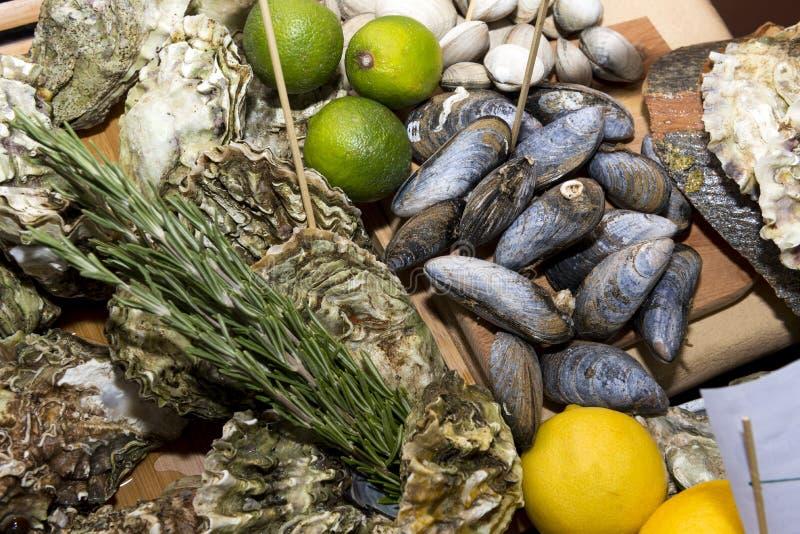 牡蛎,在壳,海鲜,淡菜,食物,石灰,柠檬的蛤蜊 库存图片
