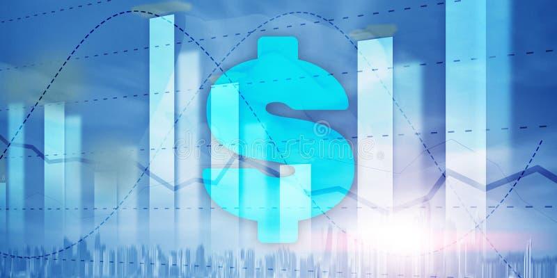 牡鹿和美元的符号,数字技术 经济企业背景 库存例证