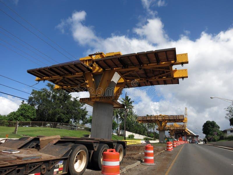 牡鹿轻的路轨具体导沟建设中在路cen中 图库摄影