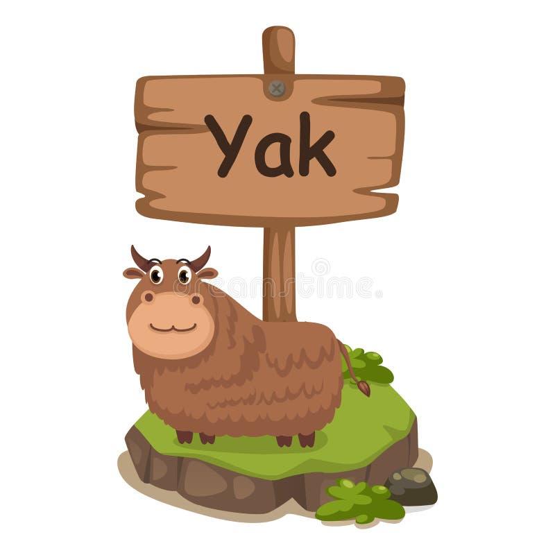牦牛的动物字母表信件Y 皇族释放例证