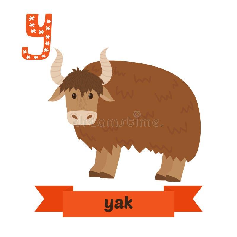 牦牛 Y信件 逗人喜爱的在传染媒介的儿童动物字母表 滑稽的加州 皇族释放例证