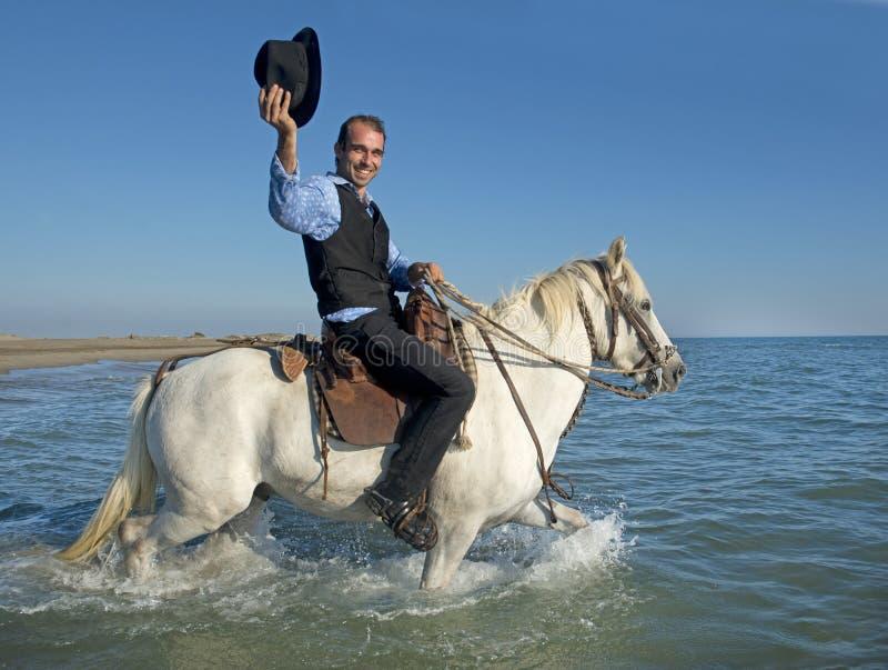 牧人和Camargue 免版税库存图片