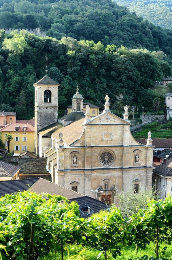 牧师会主持的教堂和葡萄园 免版税图库摄影
