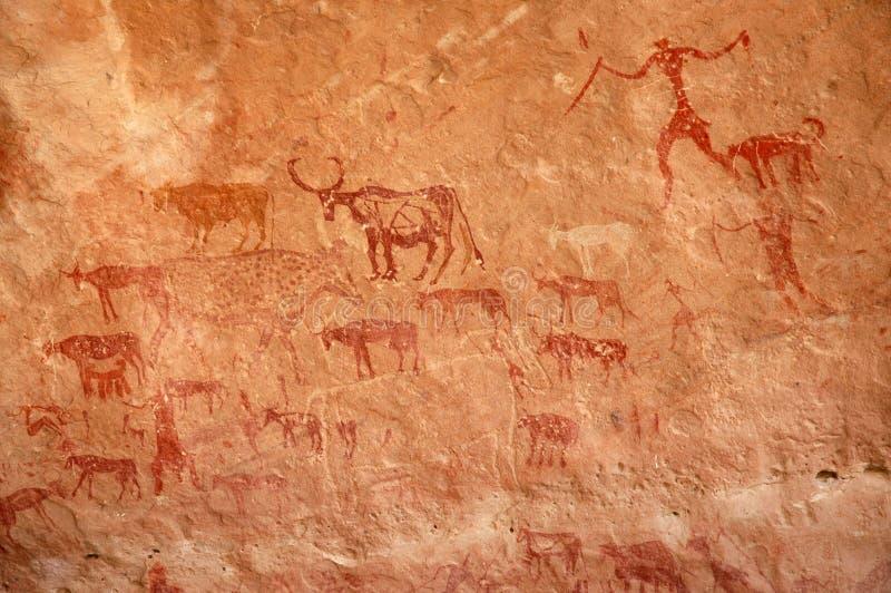 牧民石洞壁画 库存照片