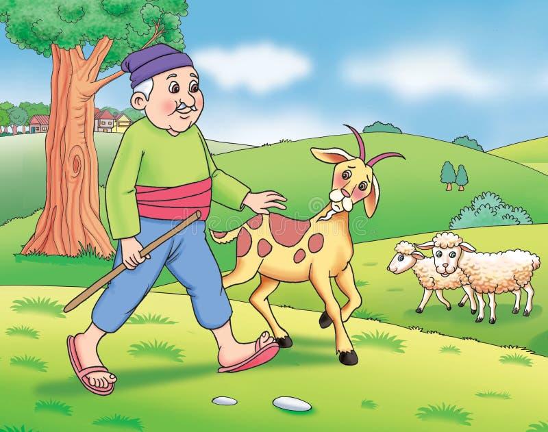 牧羊人和牲口 皇族释放例证