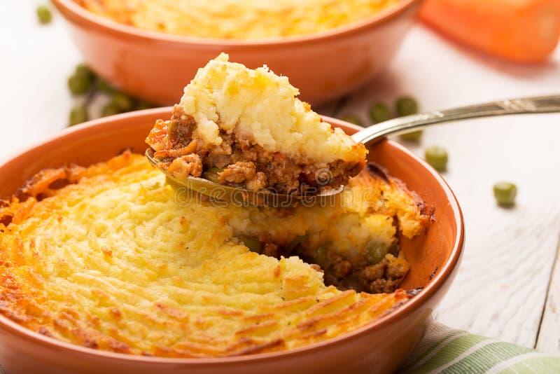 牧羊人的饼用土豆 库存照片
