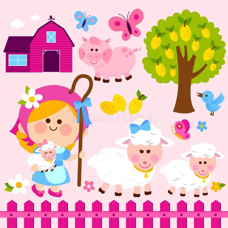 牧羊女女孩和动物在农场 传染媒介例证汇集 向量例证