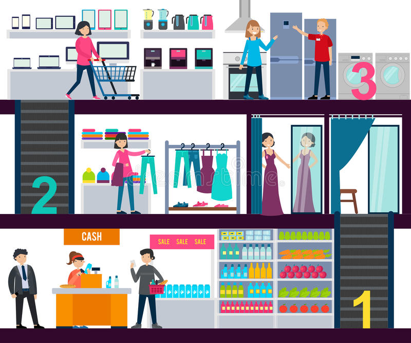 购物中心Infographic模板 皇族释放例证