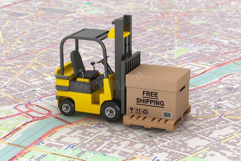 货物交付概念 有自由运送箱的铲车 皇族释放例证