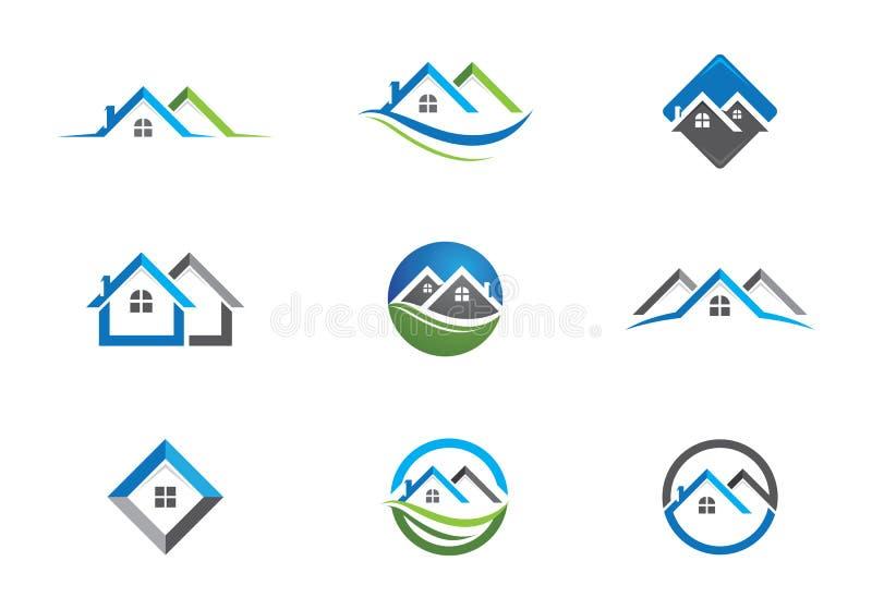 物产和建筑商标为企业公司信号设计 皇族释放例证