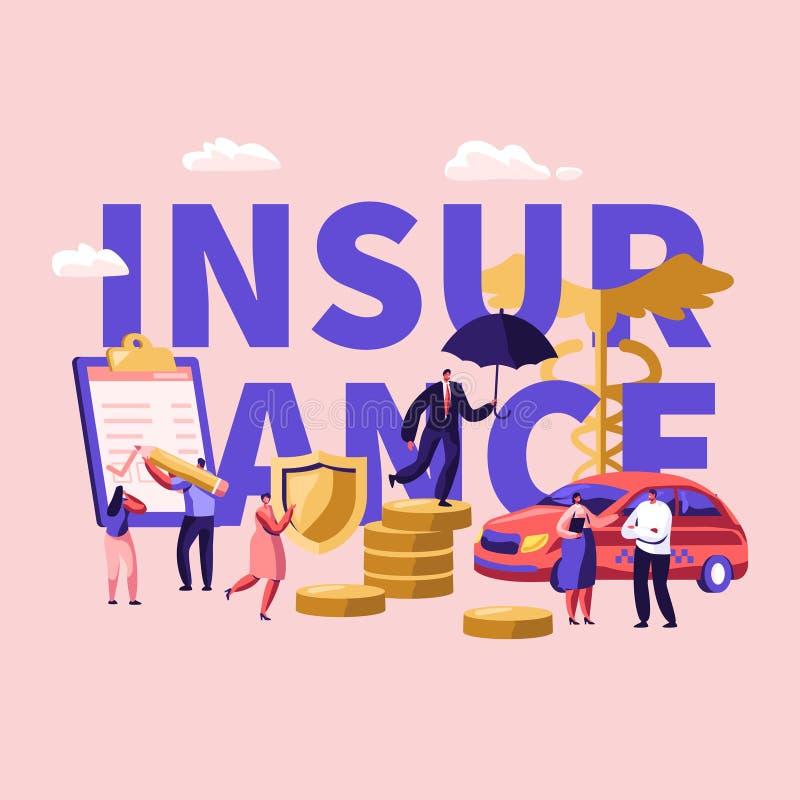 物产,健康医疗保险金概念 男性和女性角色签署保险单纸张文件 汽车,家 向量例证