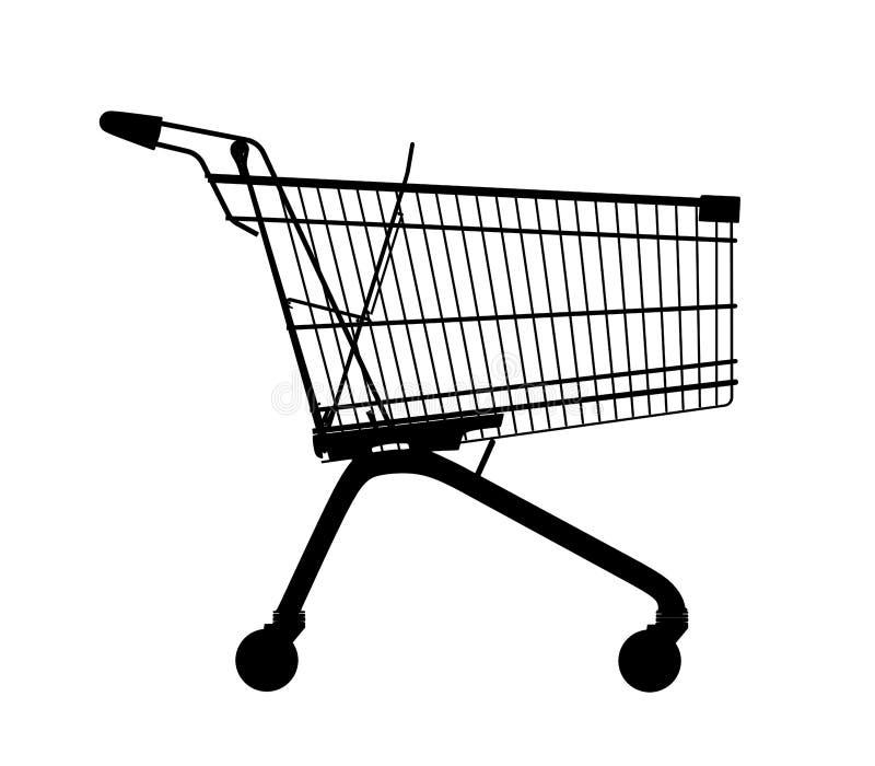 购物台车剪影 库存例证