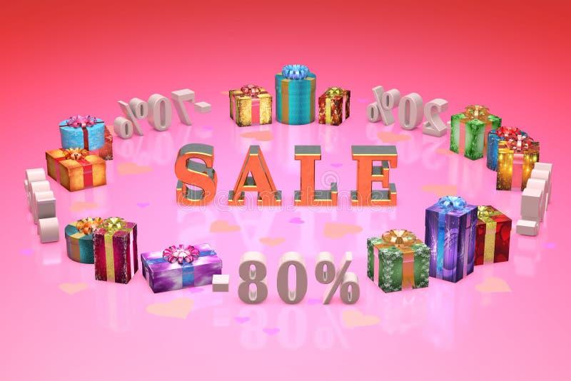 购物和礼物情人节(折扣,倾销, %,百分之 免版税库存照片