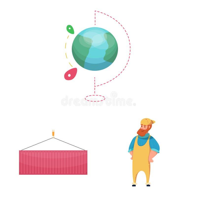物品和货物象传染媒介设计  套物品和仓库储蓄传染媒介例证 向量例证