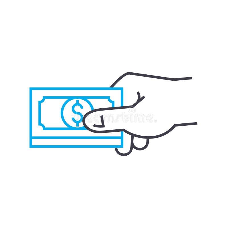 物品的付款或服务导航稀薄的线冲程象 物品的付款或服务概述例证,线性 库存例证