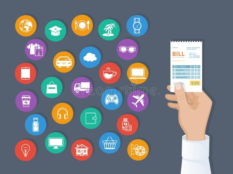物品的付款,服务,公共事业,餐馆 比尔在人手上 套服务象 购物的检查收据发货票顺序 向量例证
