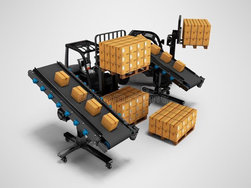 物品的安置的概念与铲车的从传动机3d回报在与阴影的灰色背景 向量例证