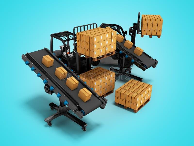 物品的安置的概念与铲车的从传动机3d回报在与阴影的蓝色背景 向量例证