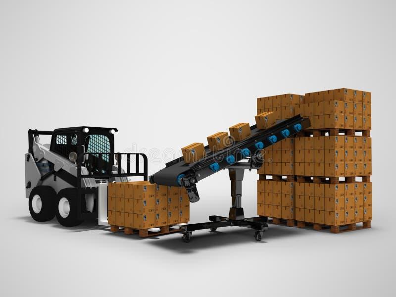 物品的安置的概念在纸箱的有从传送带3d的微型铲车的回报在与阴影的灰色背景 向量例证