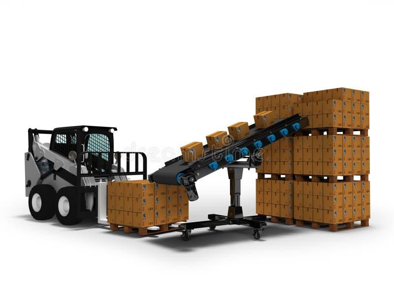 物品的安置的概念在纸箱的有从传送带3d的微型铲车的回报在与阴影的白色背景 皇族释放例证