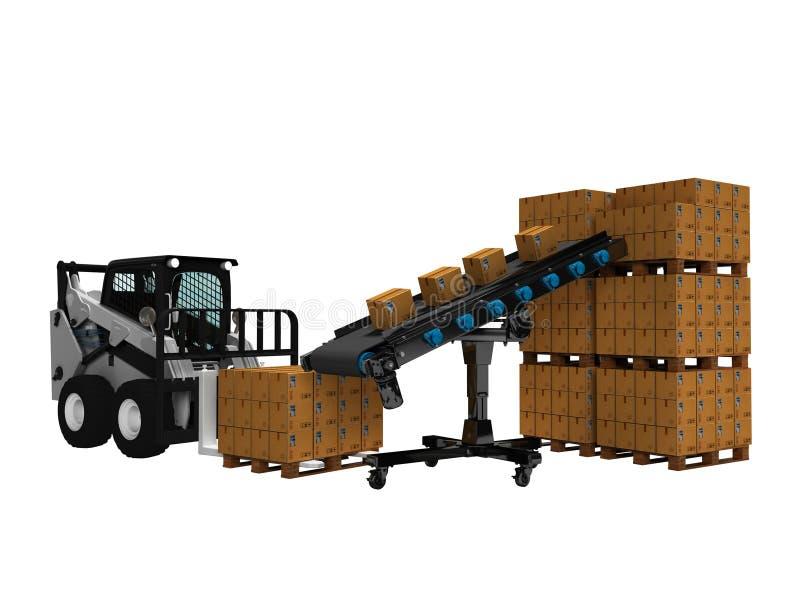 物品的安置的概念在纸箱的有从传送带3d的微型铲车的回报在白色背景阴影 库存例证