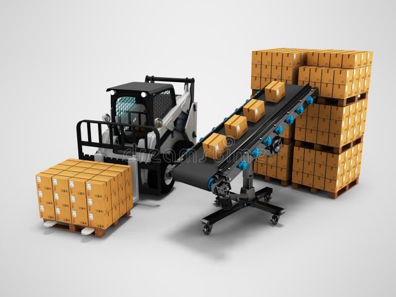 物品的安置的概念在纸箱的有从传送带3d的铲车的回报在与阴影的灰色背景 库存例证