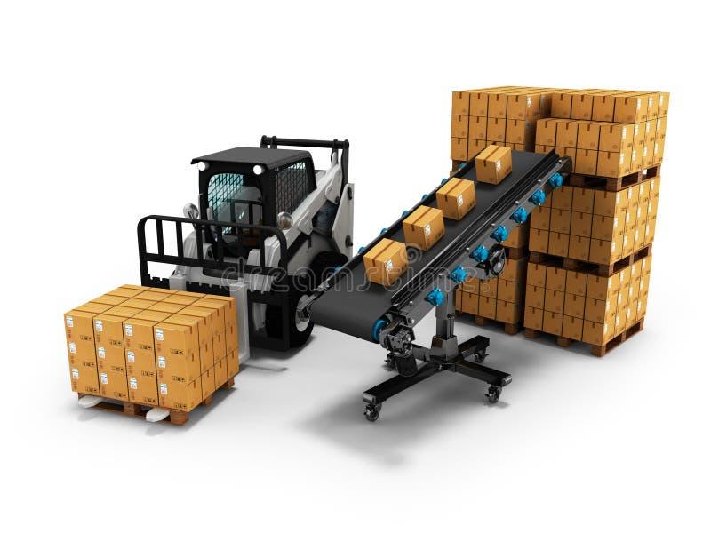 物品的安置的概念在纸箱的有从传送带3d的铲车的回报在与阴影的白色背景 向量例证