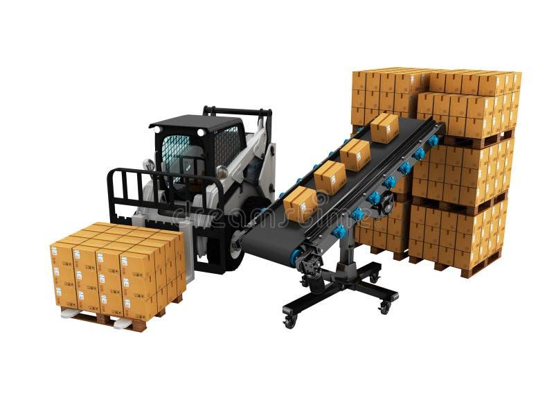 物品的安置的概念在纸箱的有从传送带3d的铲车的回报在白色背景阴影 库存例证