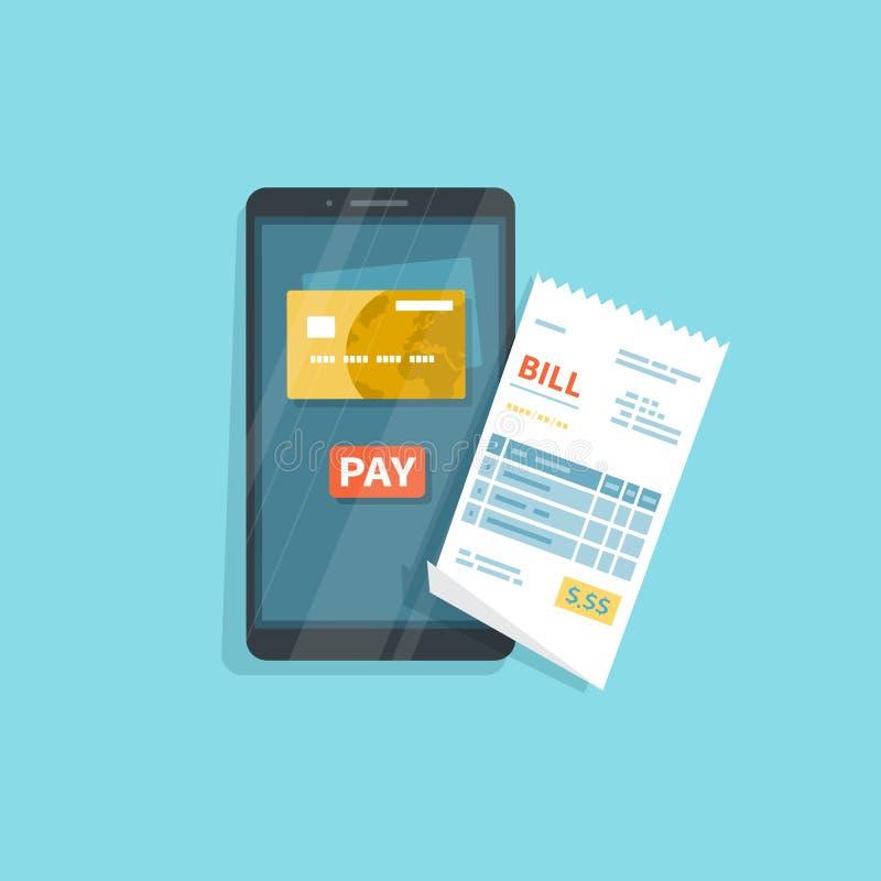 物品的流动付款,服务,购物使用智能手机 网路银行,与电话的薪水 在屏幕,按钮薪水上的信用卡 皇族释放例证