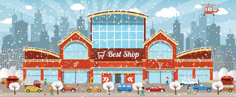 购物在城市(冬天) 向量例证