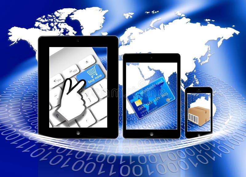 购物在网上支付交付 向量例证