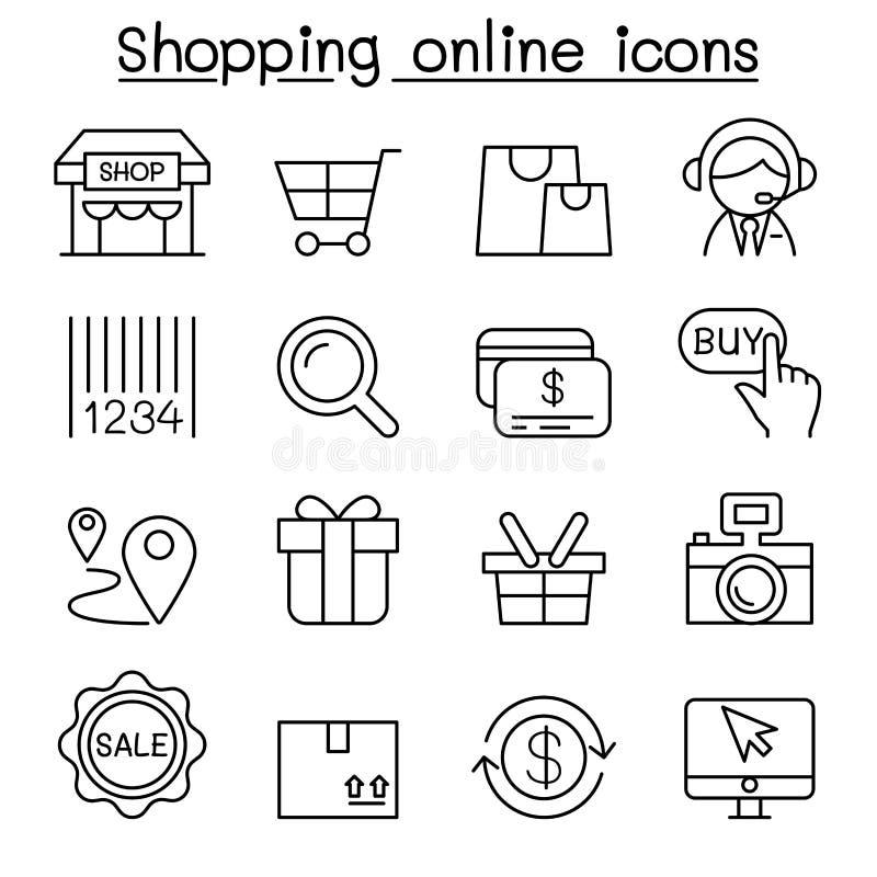 购物在网上,互联网购物象在稀薄的线型设置了 向量例证