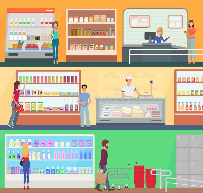 购物在超级市场概念集合收藏的人们 顾客在食物超级市场商店市场上的buing产品 库存例证