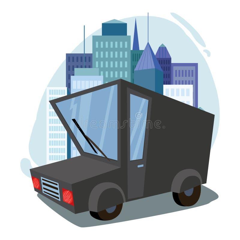 货物有篷货车 交换 汽车 都市风景 反对城市的背景 免版税库存照片