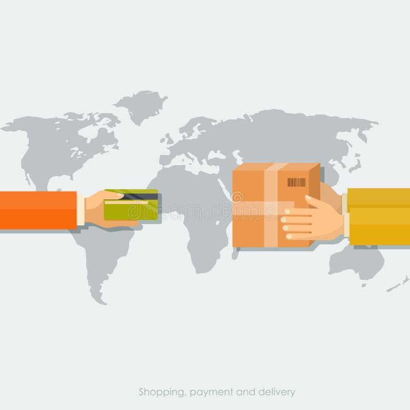 购物概念,与卡片的付款,送货业务 图库摄影