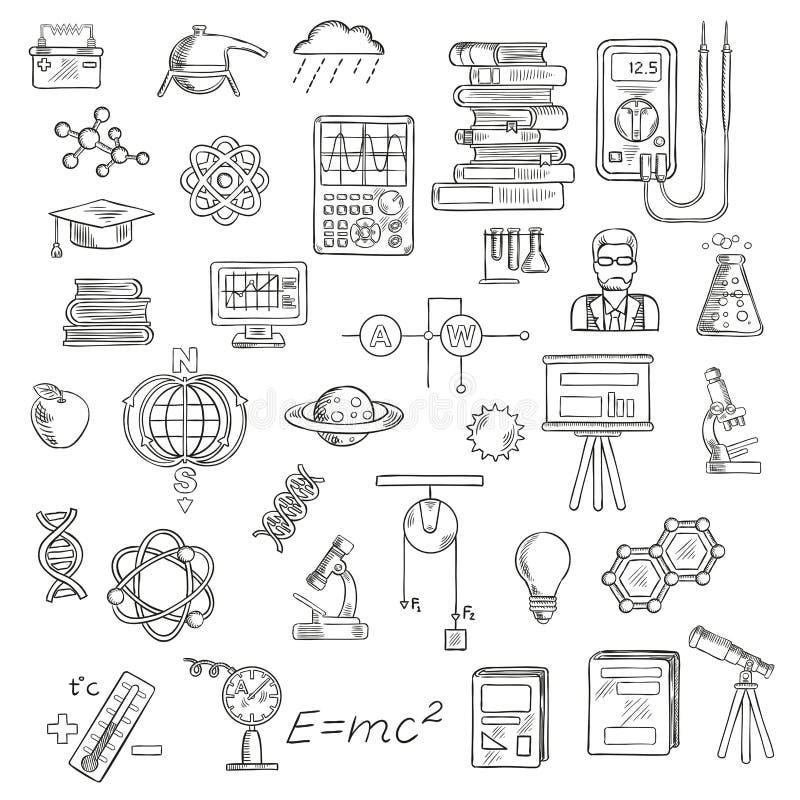 物理、化学和天文科学剪影 库存例证