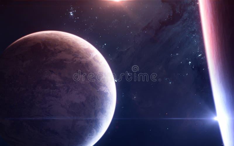 物理双星系统 红色外层空间的行星和蓝星 ?? 免版税库存照片