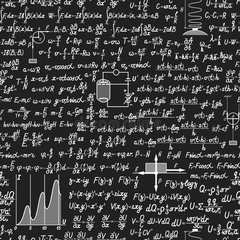 物理在黑板的传染媒介无缝的样式 库存例证