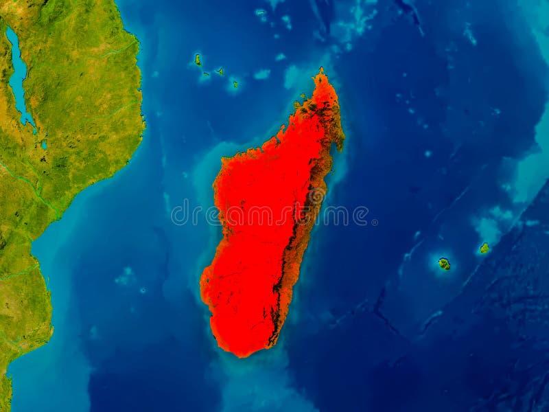 物理地图的马达加斯加 皇族释放例证