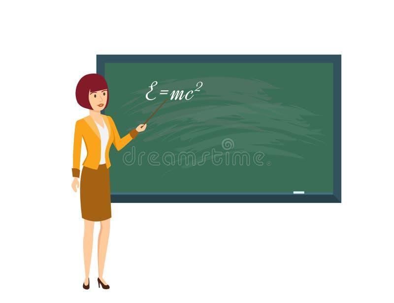物理班的妇女老师,与尖在手中 向量例证