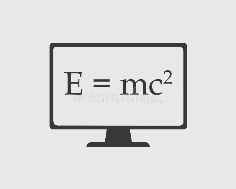 物理象 E=mc在屏幕上的广场等式 库存例证
