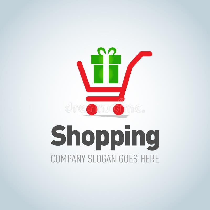 购物略写法 有当前商标设计传染媒介模板概念象的购物车 网上商店的,购物的商店略写法 向量例证