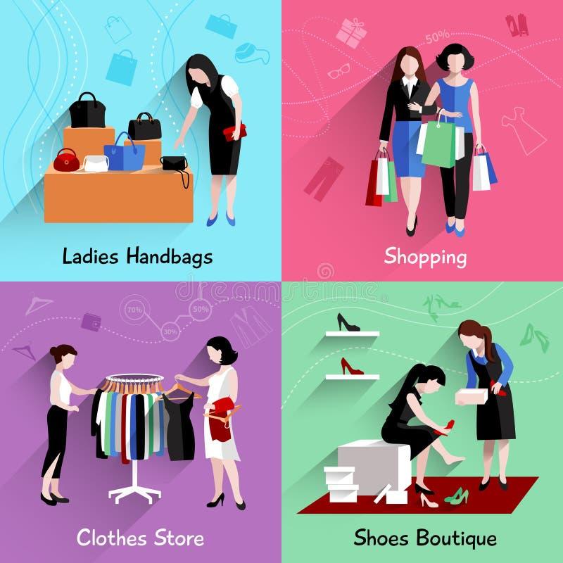 购物的妇女平展设置 向量例证