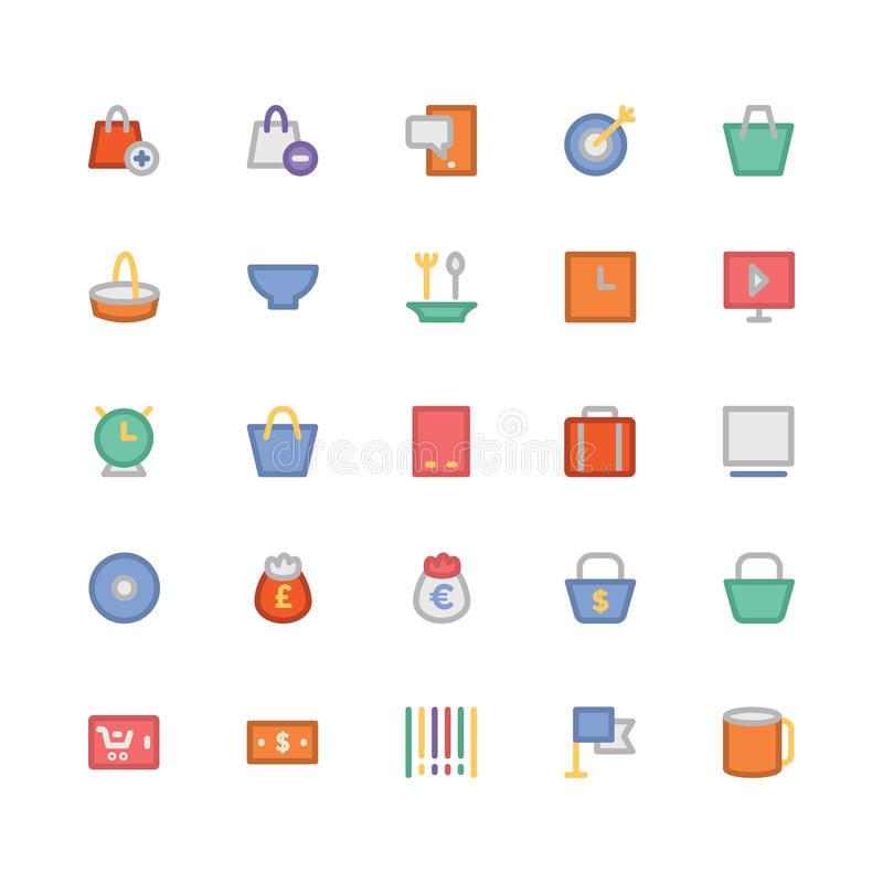 购物的色的传染媒介象7 向量例证