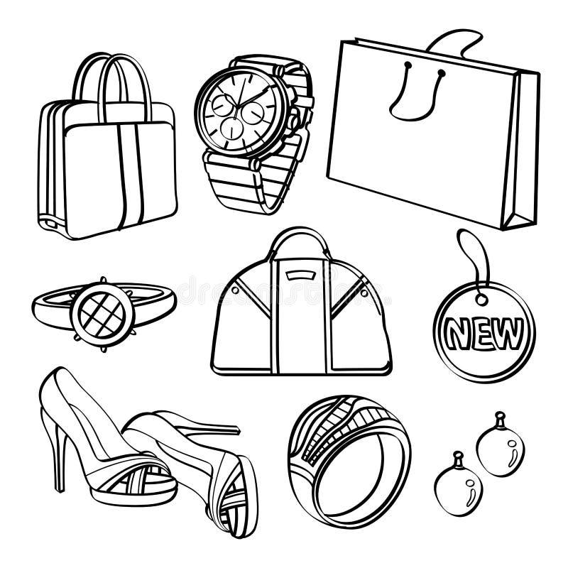 购物的集合和消费品收藏 向量例证