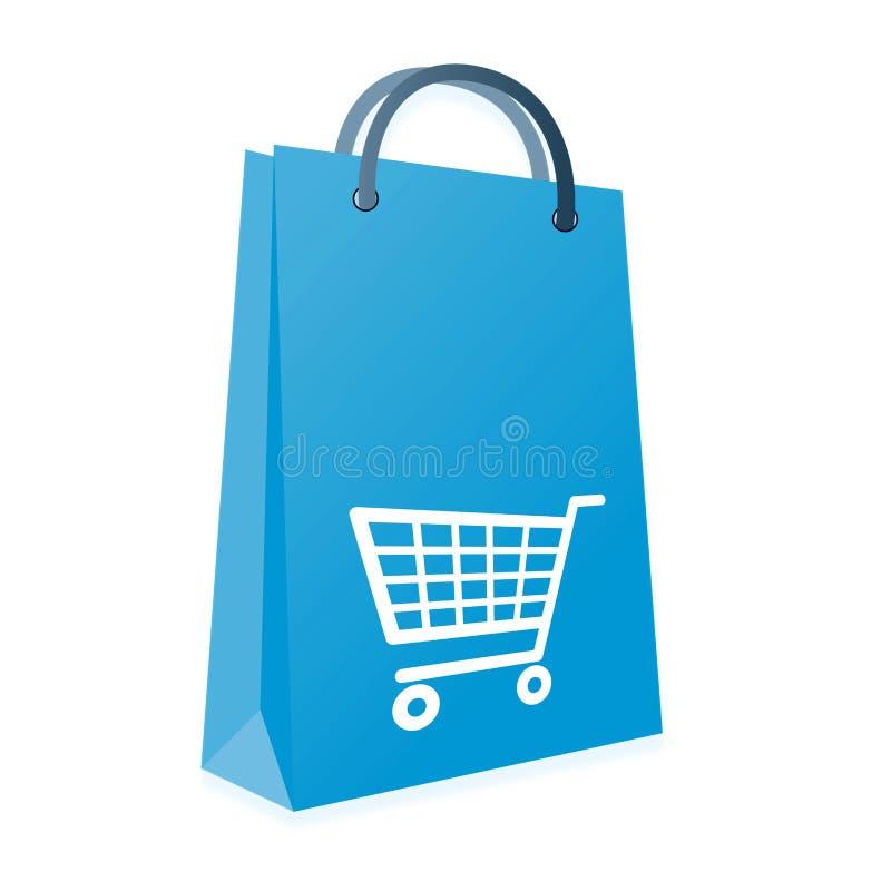 购物袋和台车 向量例证