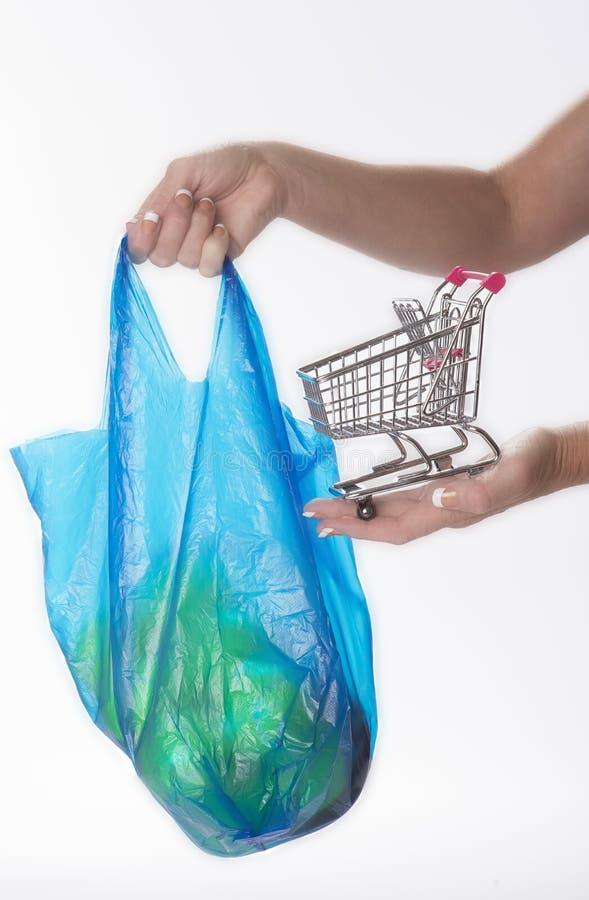 购物袋和台车 图库摄影